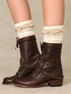 love the crochet edge on these socks with these boots