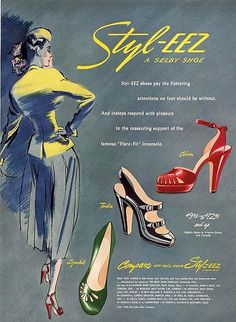 Styl-EEZ shoe ad from 1948 (love them all - especially the red ones). #vintage #fashion #shoes #1940s photo print ad illustration model green red black