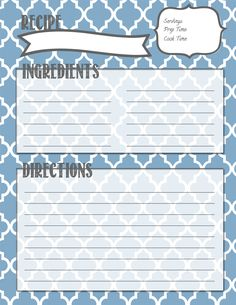 Making It In The Mitten: Recipe Binder Printables