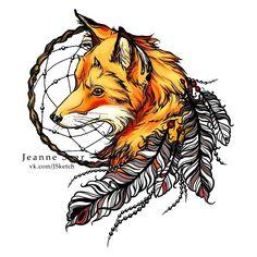 Feather Fox Indian Tattoo Design