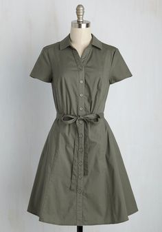 Smoothie Enthusiast Dress in Olive. From chia seeds to cacao nibs, you know all the tricks for top-notch sips - and, it looks from this olive green shirt dress like youve applied the same know-how to your style! #green #modcloth