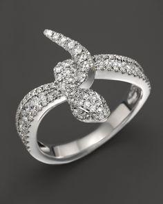 18K White Gold And Diamond Snake Ring