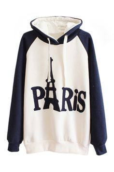 Drawstring Paris Print Hoodie Color Block Sweatshirt