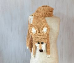 Red fox scarf, animal scarf, handmade soft scarf, beige mohair, crochet scarf, winter gift, neck warmer, wool shawl, for animal lovers  Very nice crochet fox, made of mohair yarn, with button eyes  Length with paws and tail: 70 (176 cm), without paws and tail (only body): 51 (130 cm) Width: 7 (18 cm)  Made in a smoke free house.  Ready to ship.   Please check dimensions carefully. Due to lighting conditions and monitor settings, colors may appear slightly different, than they are. Items are…