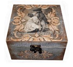 Handmade decorated jewelry box, Romantic love jewelry box, Painted jewelry box, Gift jewelry box, Transylvania gift