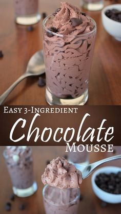 Need a chocolate quick-fix?  This EASY 3-ingredient mousse is so fast and only requires 3 ingredients you probably already have on hand.  A great dessert recipe for any night of the week.  Also, a great frosting recipe for light, airy mousse frosting for cupcakes and cakes! Chocolate Mouse Recipe, Healthy Chocolate Mousse, Chocolate Mouse Cake Filling, Easy Chocolate Cake Recipe, Quick Chocolate Desserts, Chocolate Moose, Chocolate Chip Recipes Easy, Dairy Free Chocolate Cake, Chocolate Videos