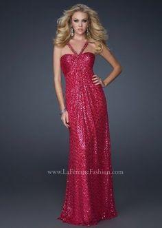 Red Sequined Halter Diamond Shaped Open Back Full Length Prom Dress