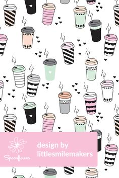 Coffee Illustration by littlesmilemakers - Beautiful coffee cup illustration in black, white, and pastels on fabric, wallpaper, and gift wrap.  Hand illustrated design by indie designer littlesmilemakers with black hearts in the background.  Perfect design for coffee lovers!  #illustration #coffee #coffeelover #caffeine #blackandwhite #draw #drawing #design #designer