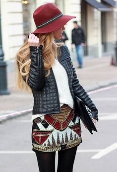 Colourful shing skirt, burgundy hat and leather jacket. Awesome Fall/Winter Street Look 2015