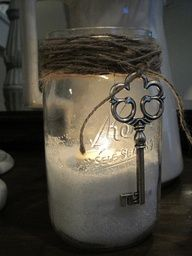 Use Epsom salt as filler in a jar. Place a tealight atop the salt. It will look…