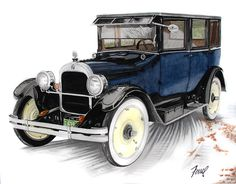1923 Durant A-22 Sedan Painting by Ferrel Cordle - 1923 Durant A-22 Sedan Fine Art Prints and Posters for Sale