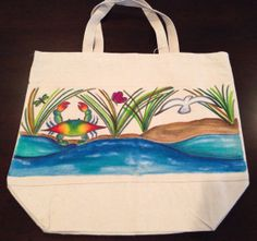 Hand Painted Blue Crab and Water Tote Bag  on Etsy, $29.99