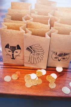 woodland, stamped paper bags