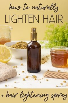 DIY hair lightening spray recipe for natural highlights that won't cause hair damage. Easy natural hair care tips and beauty recipes for soft, beautiful hair! Lighten hair naturally with an easy, herbal DIY hair lightener spray. This homemade hair lightener sets soft highlights & lends a healthy, sun-kissed glow. Want to learn how to lighten hair naturally? Discover different ways for to naturally lighten your hair with everyday ingredients plus an easy DIY hair lightener spray recipe!