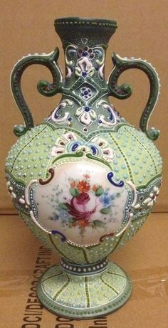 Early Antique Nippon Beaded Heavy Moriage Porcelain Vase
