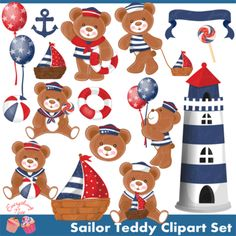 Sailor Teddy Bear Clipart Set from 1EverythingNice on TeachersNotebook.com -  (18 pages)  - Sailor Teddy Bear Clipart Set perfect for all kinds of creative projects! Includes 18 high quality PNG images.