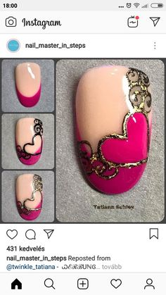 Valentine's Day Nail Designs, Nail Art Designs Videos, Creative Nail Designs, Creative Nails, Shellac Nails, Diy Nails, Acrylic Nails, Valentine Nail Art, Nagellack Trends