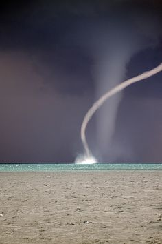 Water-Twisters often accompany tornado activity over water. Image Nature, All Nature, Science And Nature, Amazing Nature, Weather Cloud, Wild Weather, Nature Pictures, Cool Pictures, Cool Photos