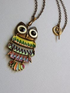 Colorful Owl Necklace by pinkingedgedesigns on Etsy, $24.00