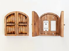 Distressed Wood Fairy Hobbit Door Double Outlet Switchplate Cover - Home Decor, Halfling Door, Unique Whimsical Home Accents, Unique Gift