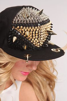 Black Multi Spike Studded Snap Back Hat