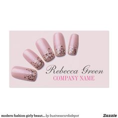 Acrylic and gel nail specialist business card business cards girly chic elegant manicure nails nail salon business card reheart Images