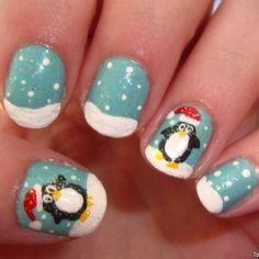 Nail art penguin christmas
