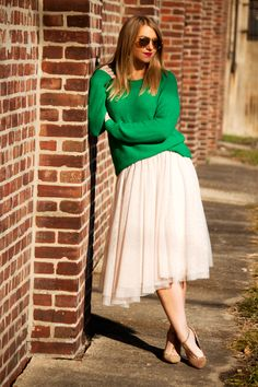 slouchy sweater and tulle skirt