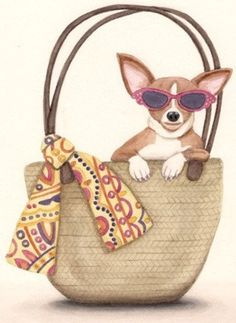 Tan/fawn Chihuahua in a Purse wonderful signed folk art dog art by by Cindi Lynch -via watercolorqueen @ Etsy. Dogs cuddled by Angels, dogs frolicking with sleds in snow, bathing in tubs, all reasonably priced. Dachshund, Dog Cuddles, Chihuahua Art, Art Articles, Dog Bag, Unique Purses, Cartoon Dog, I Love Girls, Dog Quotes