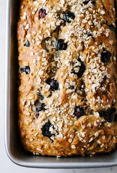 This easy vegan blueberry banana oat bread recipe is made with heart healthy ingredients. It's moist, not overly sweet and perfect for breakfast or a quick snack. A quick bread the whole family will love! Blueberry Banana Bread, Vegan Banana Bread, Banana Oats, Banana Bread Recipes, Vegan Blueberry Recipes, Vegan Bread, Heart Healthy Banana Bread Recipe, Healthy Banana Recipes, Vegan Blueberry Muffins