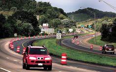 Orange barrels dot both lanes of U.S. Route 250 through New Philadelphia as construction continues.