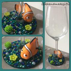 Nemo. Order from facebook CK Handmade Gifts / instagram @ckhandmadegifts Disney Wine Glasses, Disney Diy Crafts, Glass Bowls, Tumblers, Polymer Clay, Beading, Craft Ideas, Decorations, Display
