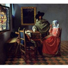 Johannes Vermeer Dutch painter specialized in domestic interior scenes of middle class life cm) Fine Art Print Framed, Poster, Canvas Prints, Puzzles, Photo Gifts and Wall Art Johannes Vermeer, Wine Painting, Painting Prints, Fine Art Prints, Canvas Prints, Rembrandt, Beaux Arts Architecture, A4 Poster, Poster Prints