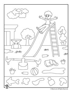 Drawings to color with children. 10 sheets to make them fall in love - Decor Scan : The new way of thinking about your home and interior design Kindergarten Worksheets, Worksheets For Kids, Activities For Kids, Hidden Picture Games, Hidden Pictures Printables, Picture Composition, Preschool Colors, Hidden Objects, Art Drawings For Kids