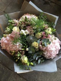 Beautiful hand-tied bouquet of flowers with soft pink hydrangea, cream roses, astrantia and fragrant freesia complemented with eucalyptus. Luxury Flowers, Fresh Flowers, Beautiful Flowers, Rosen Arrangements, Floral Arrangements, Deco Floral, Arte Floral, Ikebana, Floral Bouquets