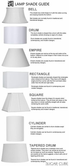 Lamp Shade Shapes  All The Cheat Sheets You Need To Redecorate Your Home • Page 4 of 5 • BoredBug