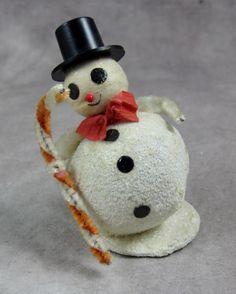 White Mica Glitter Snowman Japan Vintage Mid-Century - Putz Cardboard - Christmas Snow Santa by FuzzyIzzys on Etsy https://www.etsy.com/listing/288907621/white-mica-glitter-snowman-japan-vintage
