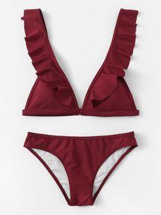 a473b52a38edc Ruffle Strap Triangle Bikini Set -ROMWE Two Piece Outfit