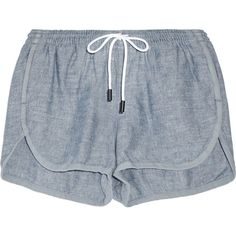 Rag & bone Cotton-chambray shorts (94.640 CLP) ❤ liked on Polyvore featuring shorts, bottoms, short, pants, rag bone shorts, short shorts, stretch waist shorts, basic tshirt and pull on shorts