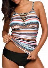 Padded Stripe Print Swimwear Top and Black Panty | Rosewe.com - USD $29.93