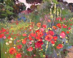 Artists and Art: Landscape Painter Ramon Vilanova Spanish Artist Art Floral, Abstract Landscape, Landscape Paintings, Watercolor Flowers, Watercolor Paintings, Flower Paintings, Spanish Artists, Garden Painting, Beautiful Paintings