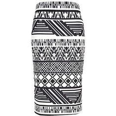 58a2ff8691 Black and white tribal print pencil skirt - River Island price: £20.00  Printed Pencil