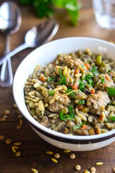 Sweet Italian Sausage with Lentils and Orzo- The Spice Kit Recipes (www.thespicekitrecipes.com)