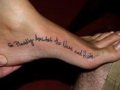 "tattoo: words on foot. i'm getting ""twenty six point two"" after my 2nd marathon!!"