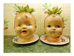 Extra Fun, Extra Funky, Extra Large Vintage Doll Head Planters, Pot Heads, Great Gift Idea