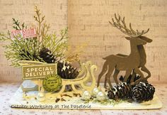 Sleigh Bells Ring using Sizzix BigZ Prancing Deer and Sleigh...Thinlits Holiday Greens...SA Correspondence