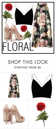 """""""FLORAL"""" by fashion-with-lela ❤ liked on Polyvore featuring Miss Selfridge, River Island and Rupert Sanderson"""
