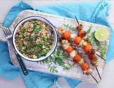 Grilled Lime Chicken Kebabs with Fluffy Cumin Couscous
