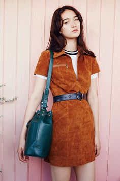 Ecote Halliwell Suede Shirtdress - Urban Outfitters