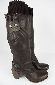MARSELL Brown Leather Boots 38 Chunky Wood Heel Rustic Distressed Fashion Tall